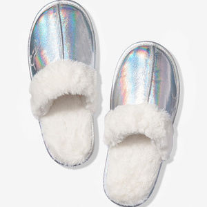 PINK Silver Sherpa Lined Metallic Slippers Medium
